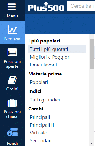 menu webtrader plus500
